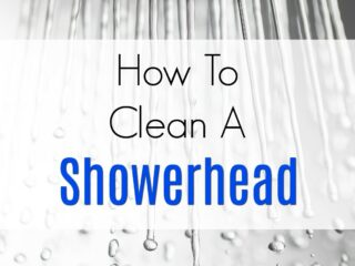 How to Clean a Showerhead? Use this tip to save money and time when cleaning the bathroom. #greencleaning