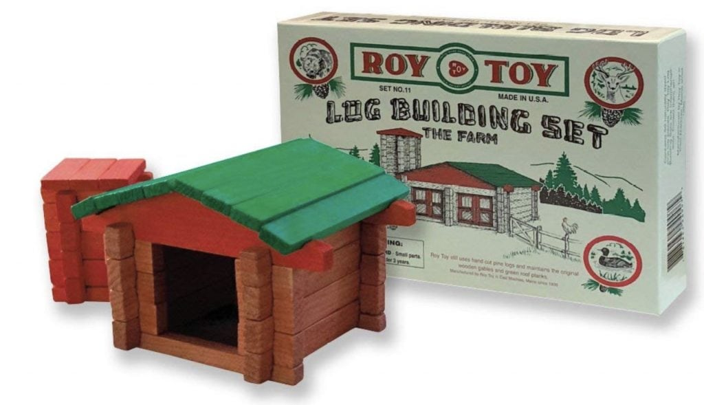 Roy Toy Wood Log Cabin Toy Building Set