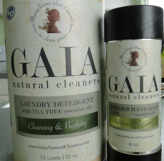 Gaia natural cleaners detergent powder hand soap bottles