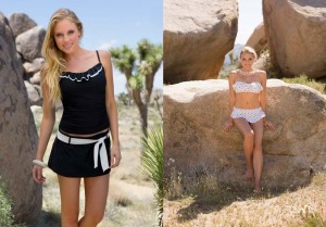 sustainable fashion swimsuits on beach