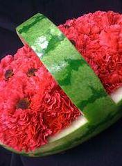 Flowers in a Watermelon Basket
