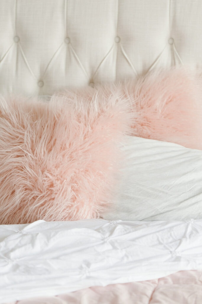 pink fuzzy throw pillows