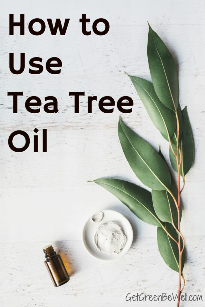 tea tree oil bottle on white background with leaves