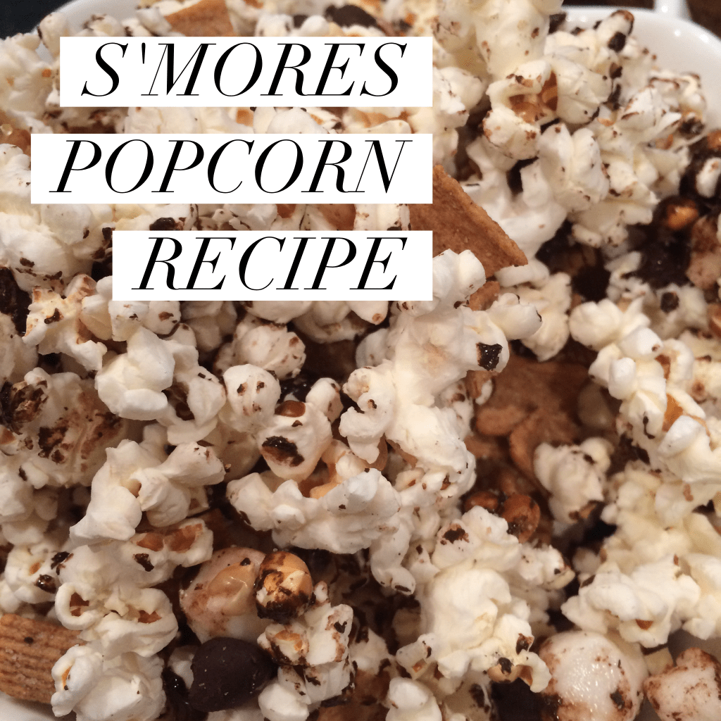 smores popcorn with chocolate chips and graham crackers