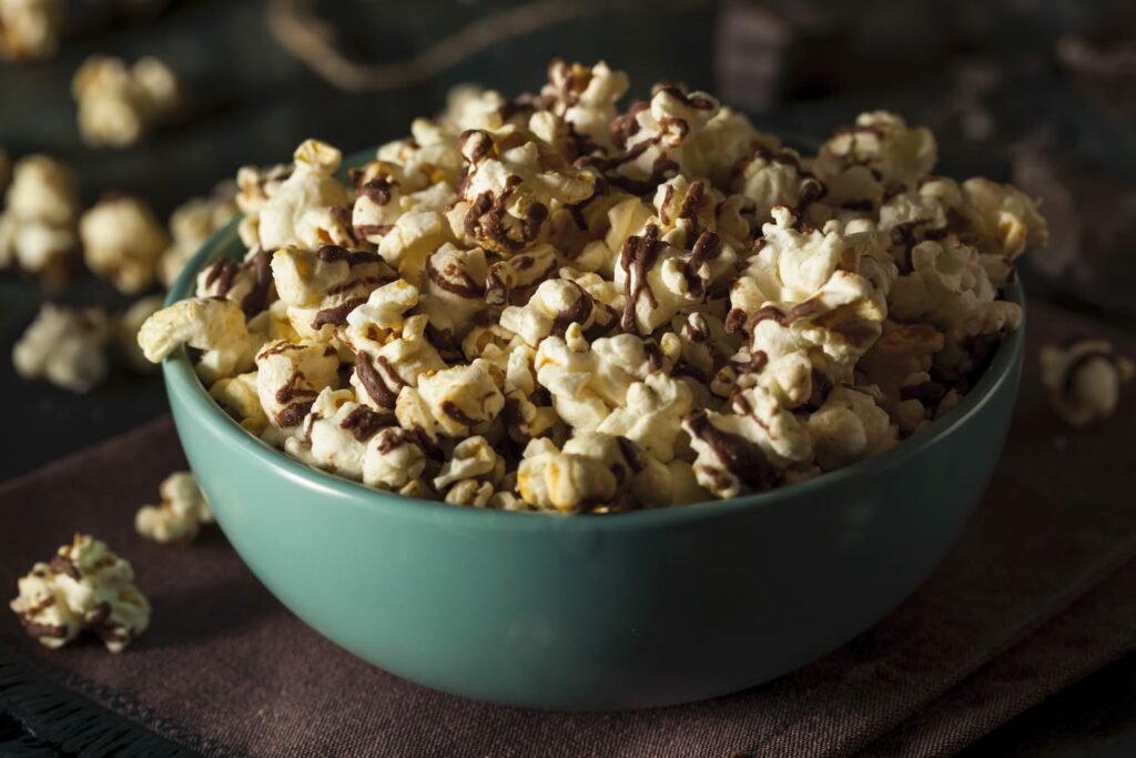 Homemade Chocolate Drizzled Caramel Popcorn Ready to Eat