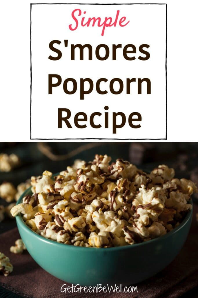 blue bowl of chocolate drizzled popcorn