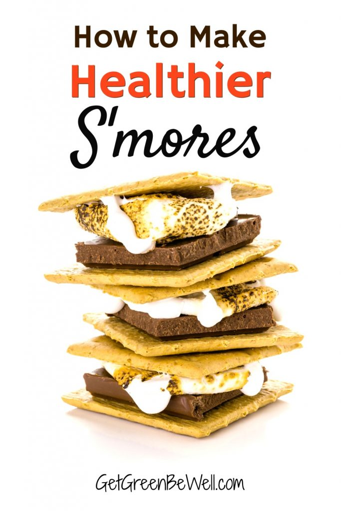 stack of toasted smores with marshmallows roasted and chocolate melting