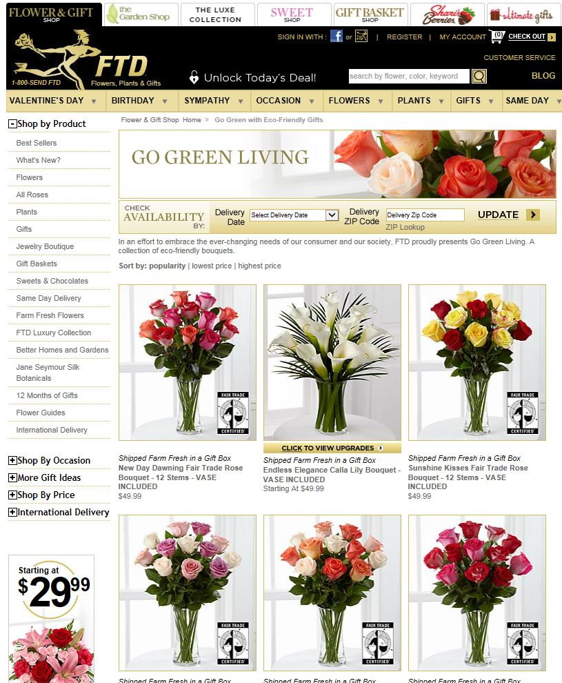 Screenshot of the FTD Go Green Living Floral selections - February 2016