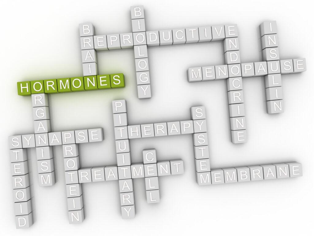crossword puzzle with word hormones in green