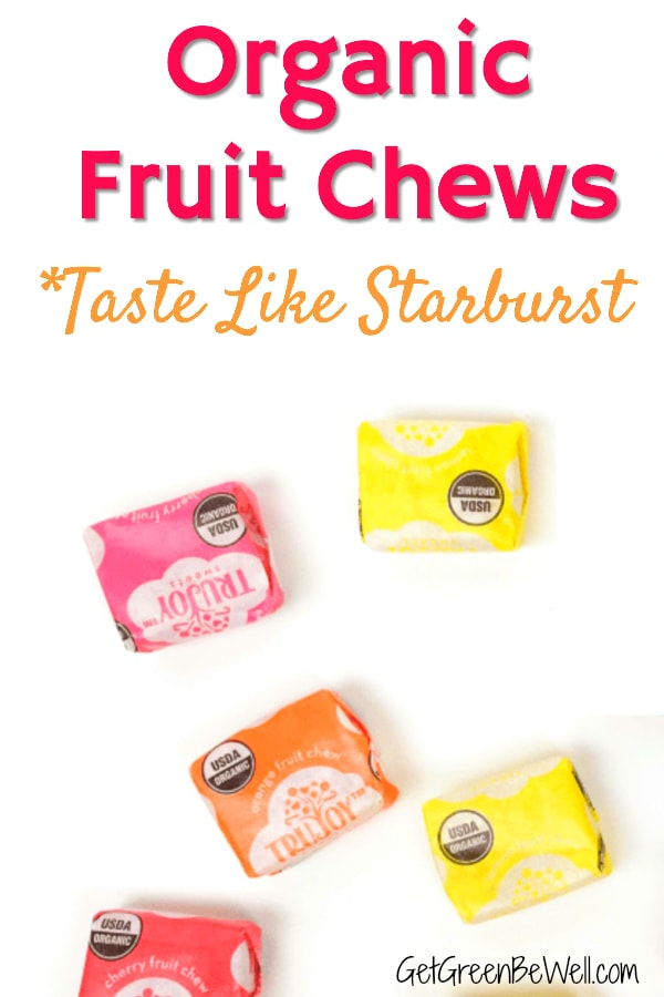 Organic fruit chew candies against white background