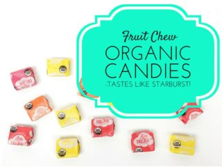 colorful organic fruit chew candies against white background
