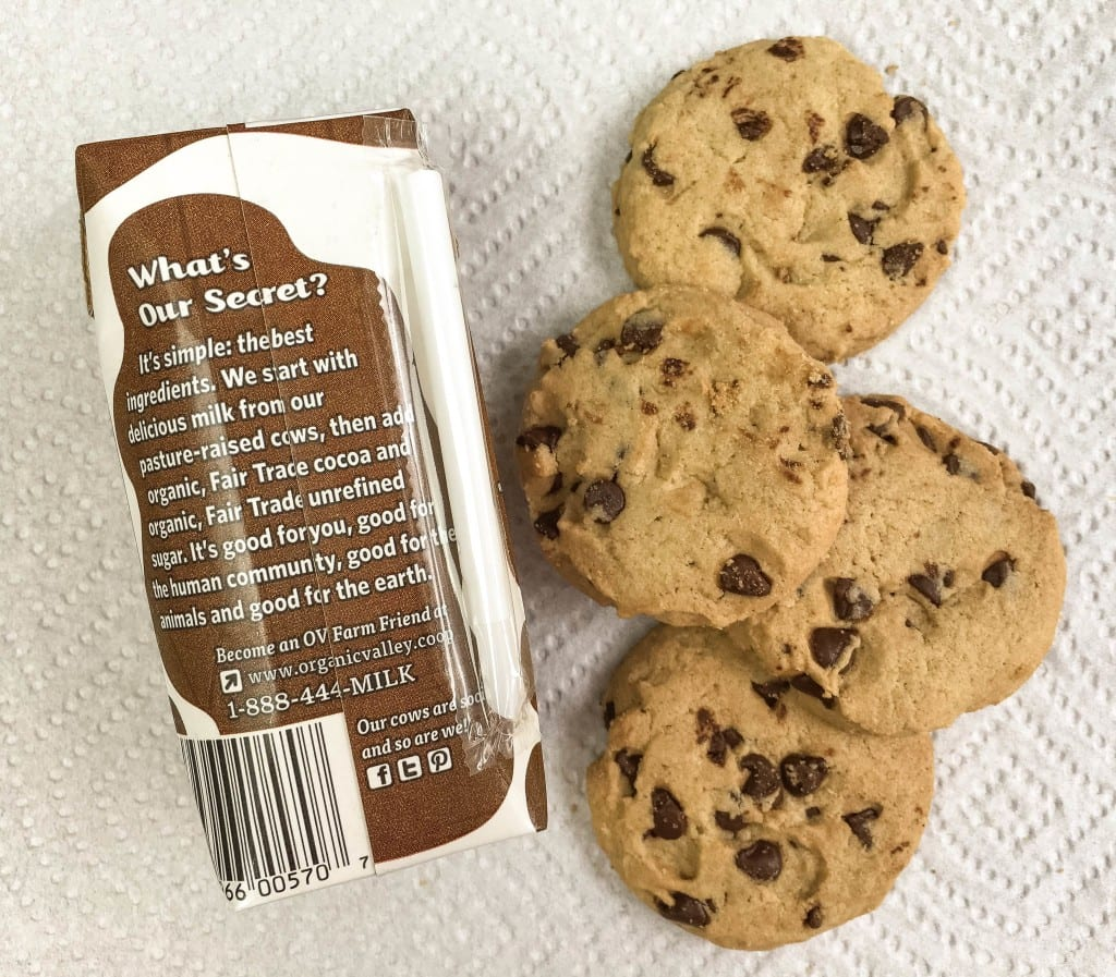 chocolate chip cookies and milk snack pack