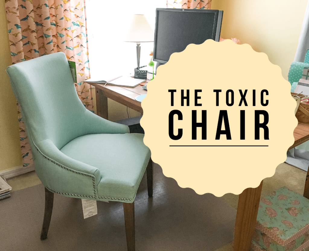 Toxic Blue Chair in Office Off-Gassing Smell