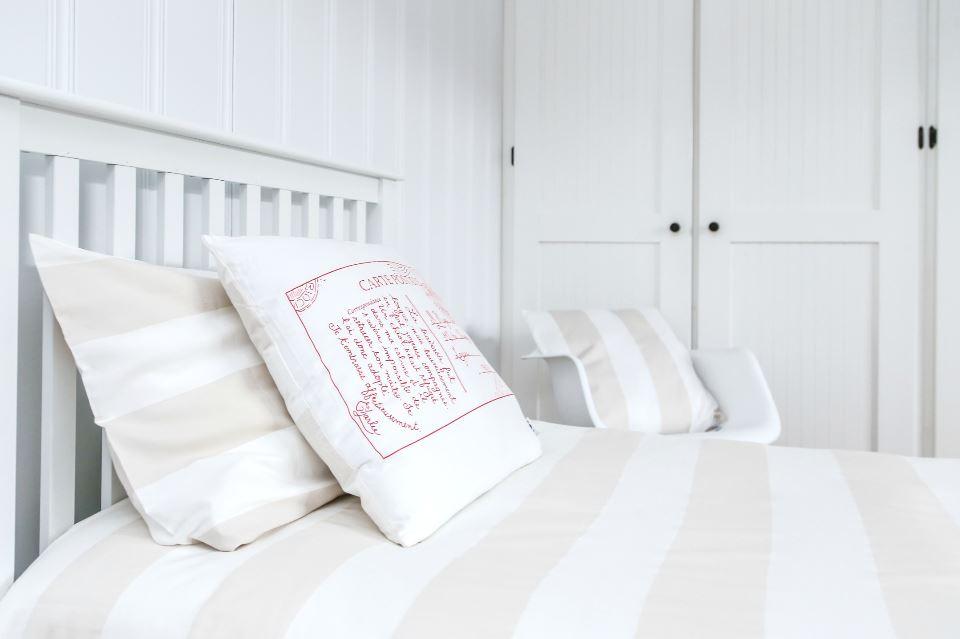 Atelier Edele organic tan striped bedding