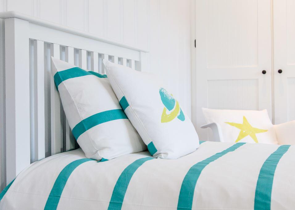 Atelier Edele Turqoise and White Stripe Organic Cotton Duvet Cover Bedding Set