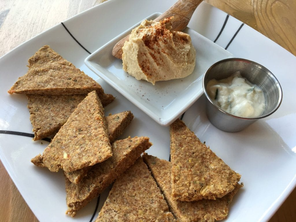 Cashew hummus and tzatki with Pita Bread Raw Food