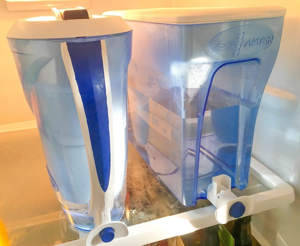 ZeroWater blue water filter pitchers in refrigerator
