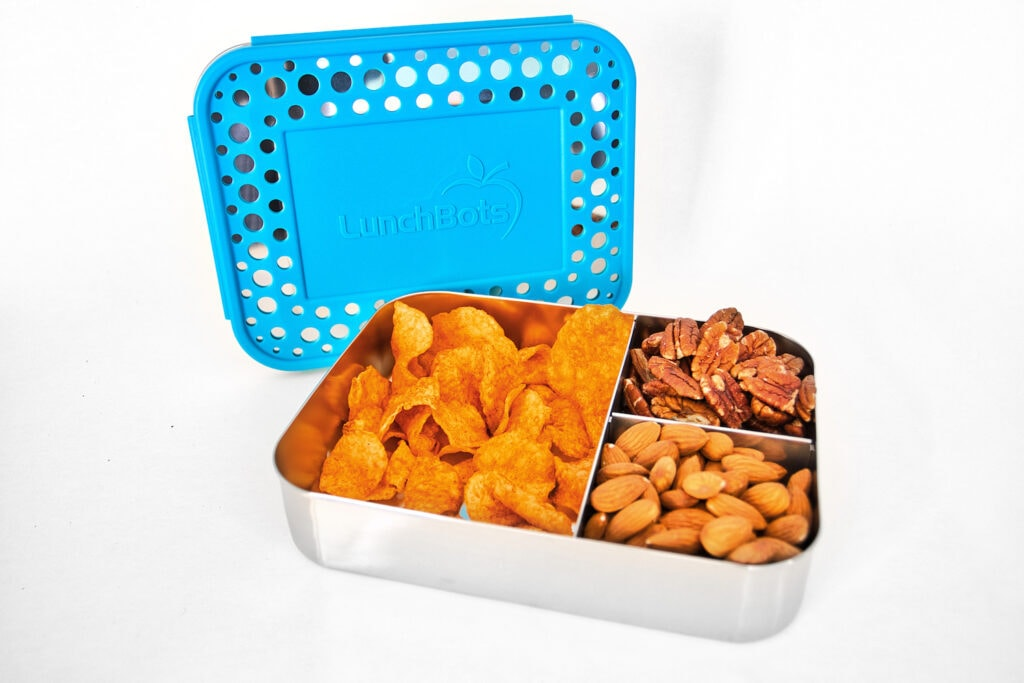 stainless steel bento box filled with potato chips and nuts lunchbots