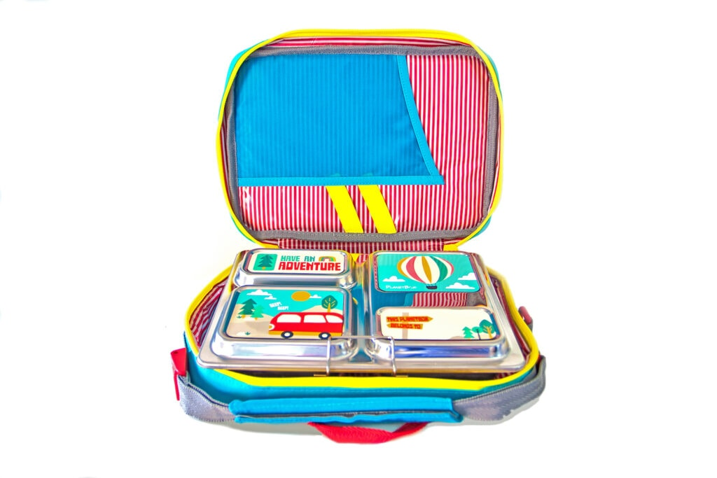 planetbox stainless steel lunchbox in carry bag
