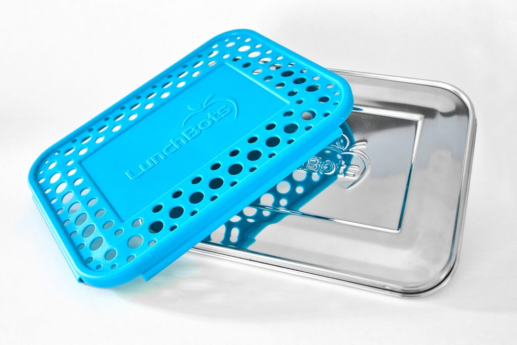 stainless steel bento box lid with removable blue plastic cover lunchbots