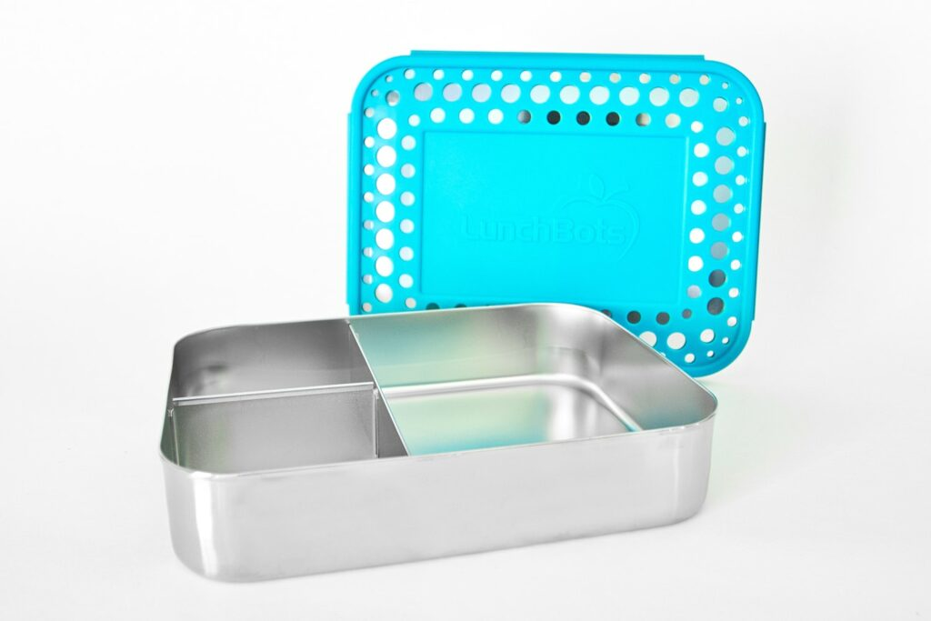 stainless steel bento box with teal plastic lid lunchbots