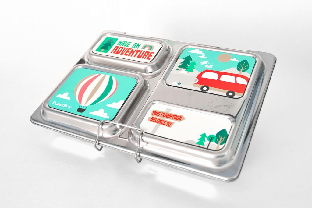 stainless steel lunch container with compartments planetbox with travel stickers