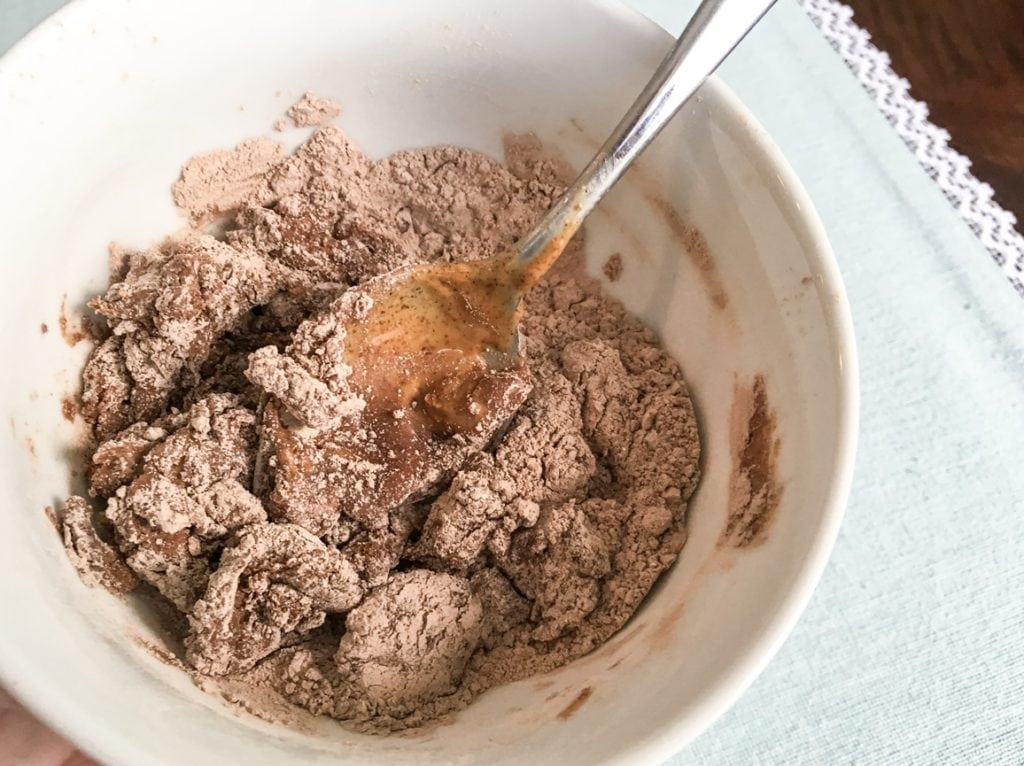 chocolate no bake protein balls with protein powder mixture in serving bowl with spoon
