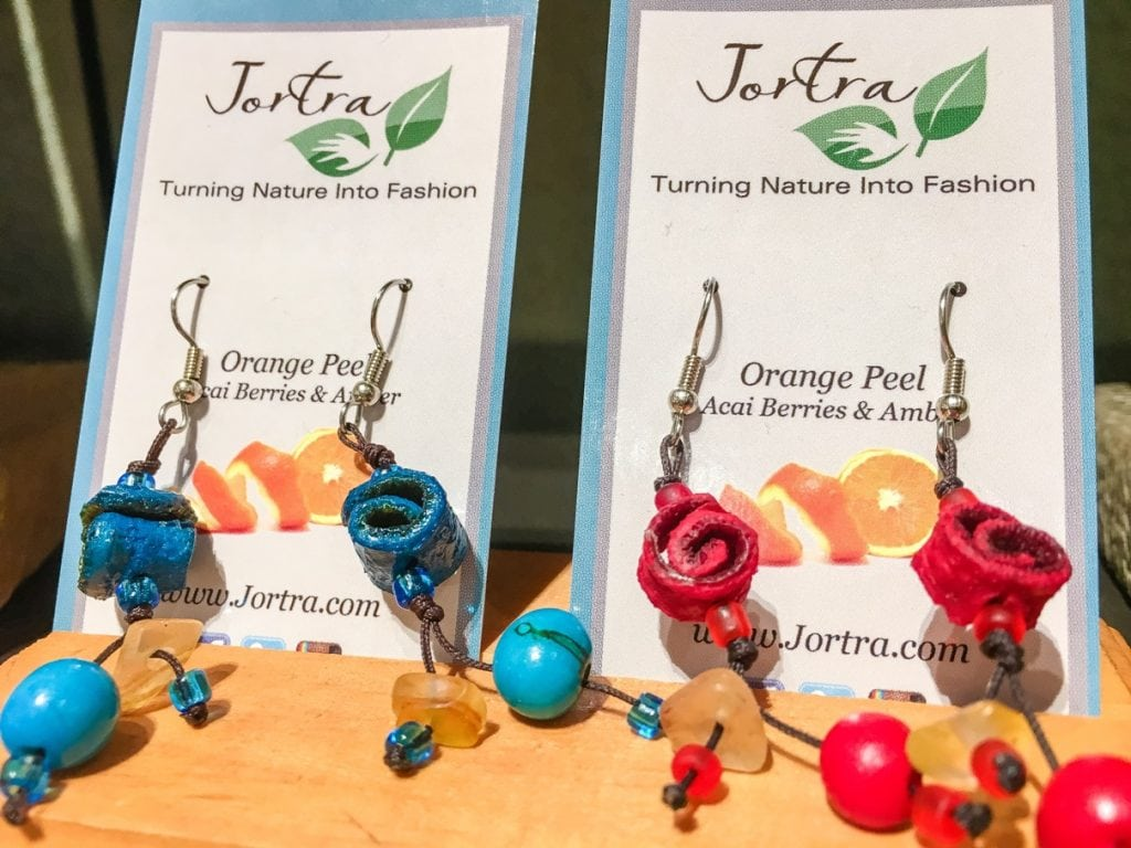 Jortra Jewelry is made from nature, with seeds, coffee beans and orange peels. The metal-free jewelry is gorgeous! An eco-friendly fashion statement!