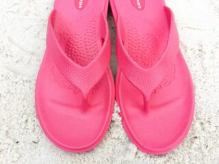pink plastic okabashi shoes