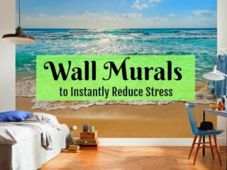 Reduce stress with wall murals! Easy DIY project that brings nature indoors. Inexpensive and simple but makes a huge impact for happiness and relaxation.