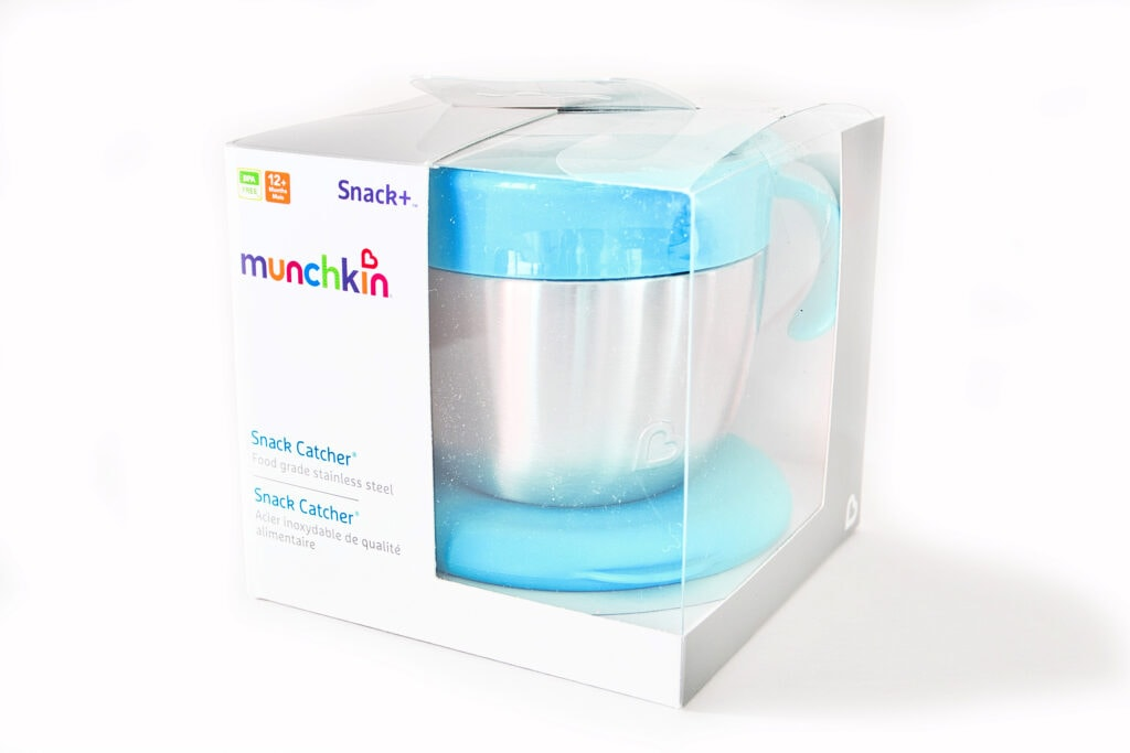 munchkin stainless steel snack catcher in packaging