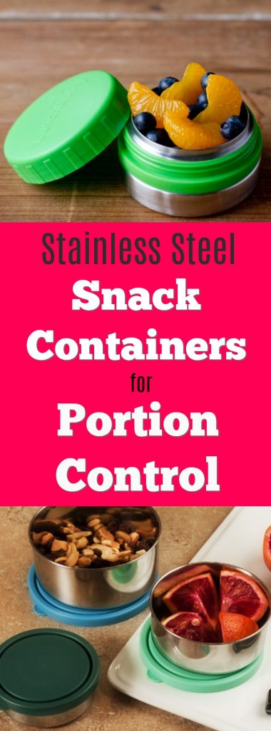 Measure out the right amount of snacks with these stainless steel food containers. Portion control is easy with these non-toxic food storage ideas. Ideal for weight management and healthy eating on the go, these reusable metal containers make eating better easier!