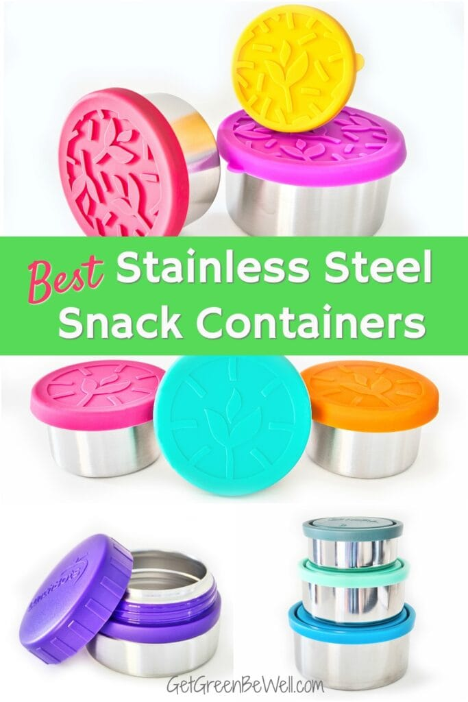 collection of stainless steel containers with bright colored lids
