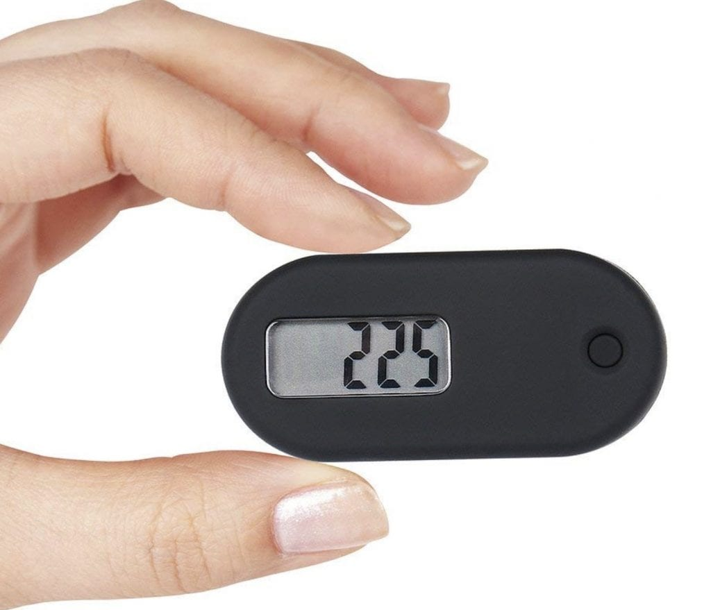 simple black pedometer with clip