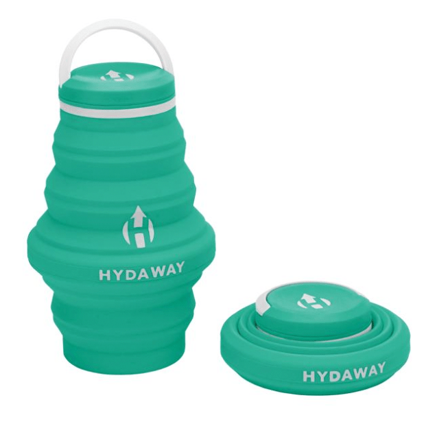 collapsible water bottle in teal color