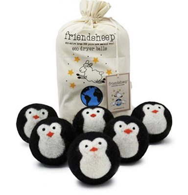 penguin dryer balls in front of muslin bag holiday gift guide
