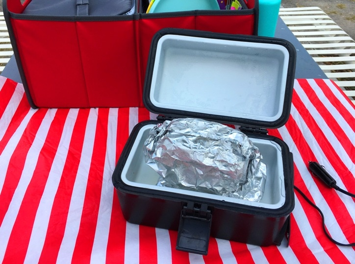 A portable oven that lets you cook in the car. Use in emergency and part of your emergency kit with the 12V adapter.