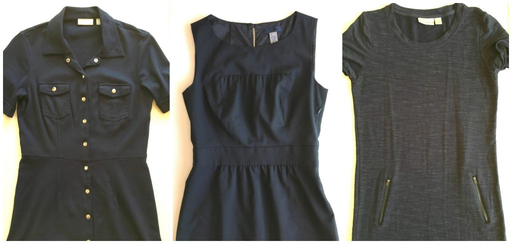 three navy dresses side by side from thredup