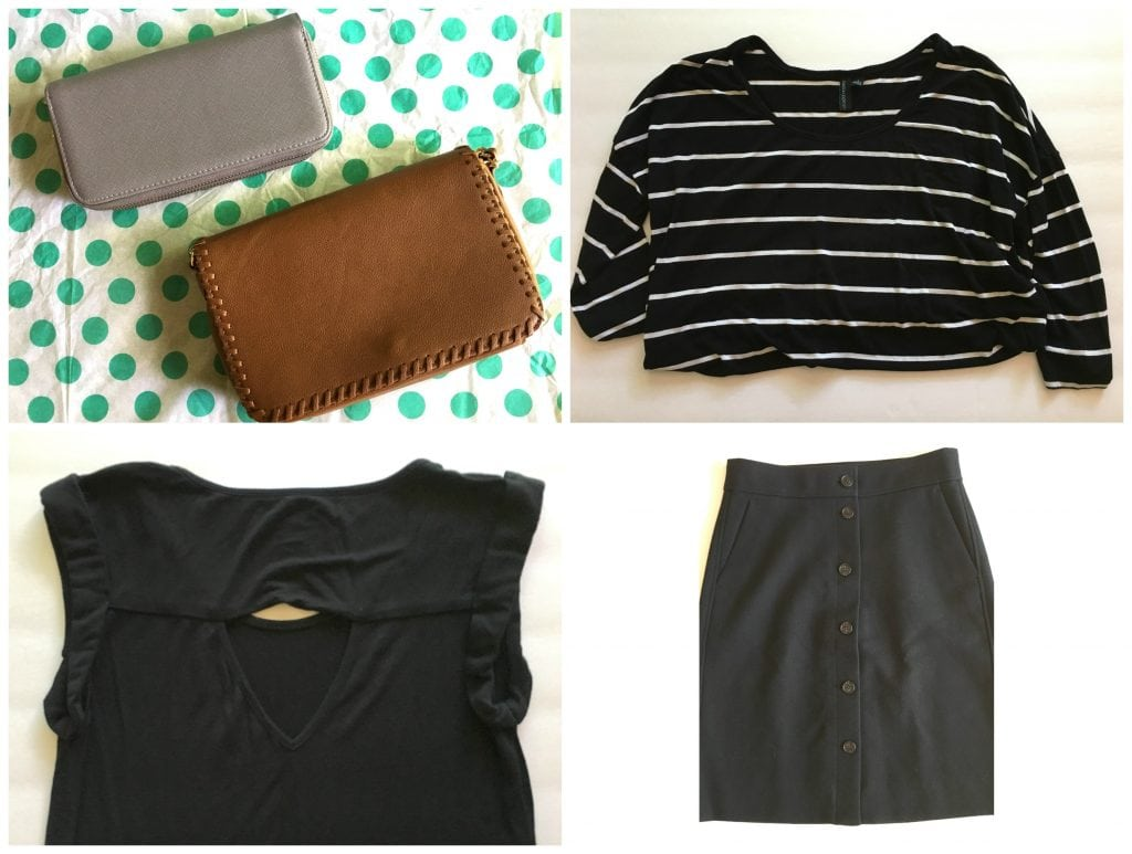 two purses, black and white striped shirt, black top, black wool skirt with buttons down front from thredup Goody Box