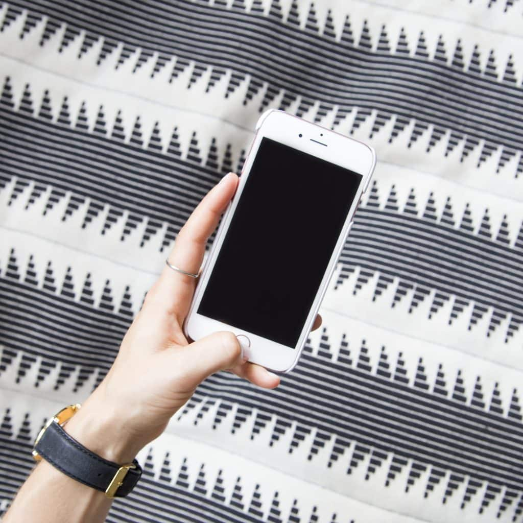 Smartphone in woman's hand