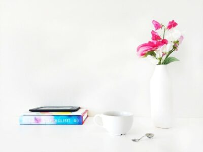 Minimalist Books and Flowers in a Vase