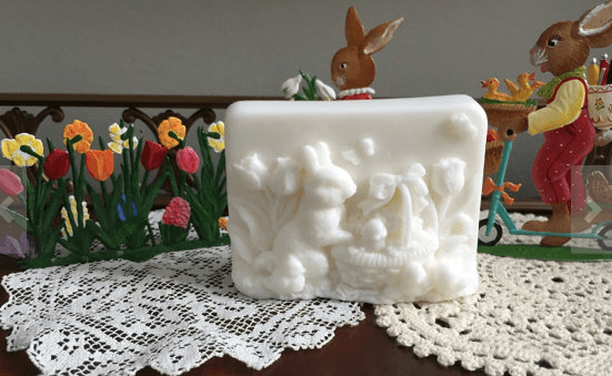 bar of soap with raised Easter bunnies