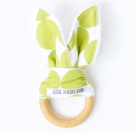 bunny ears teether organic wood