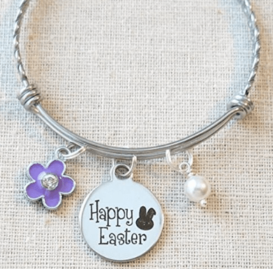 Silver bracelet with charms flower and happy easter sign