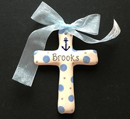 Cross with child's name hand painted