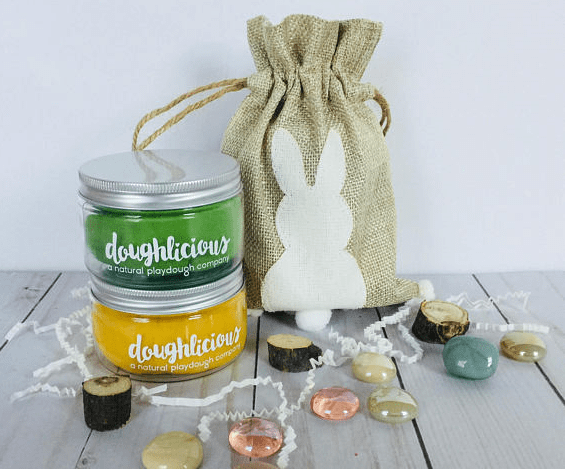 natural playdough with a burlap bunny bag