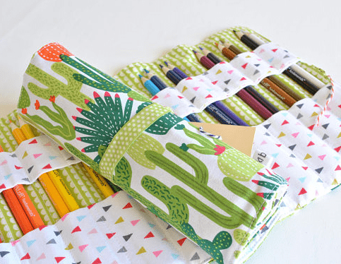 cactus fabric colored pencil roll up caddy