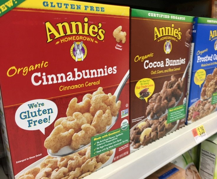 boxes of annie's organic cereals on store shelf