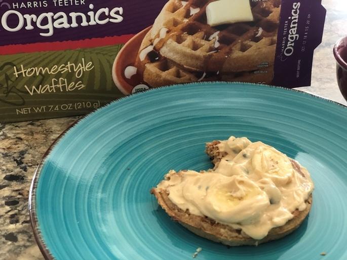 waffle with yogurt and bananas on top