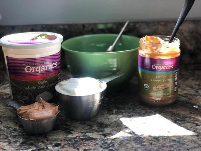 yogurt in a measuring cup peanut butter bowl